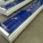 Painted steel version for medical industry, FDA belt by blue polizene and Lexan perspex covers, products inlet and inspection doors 2